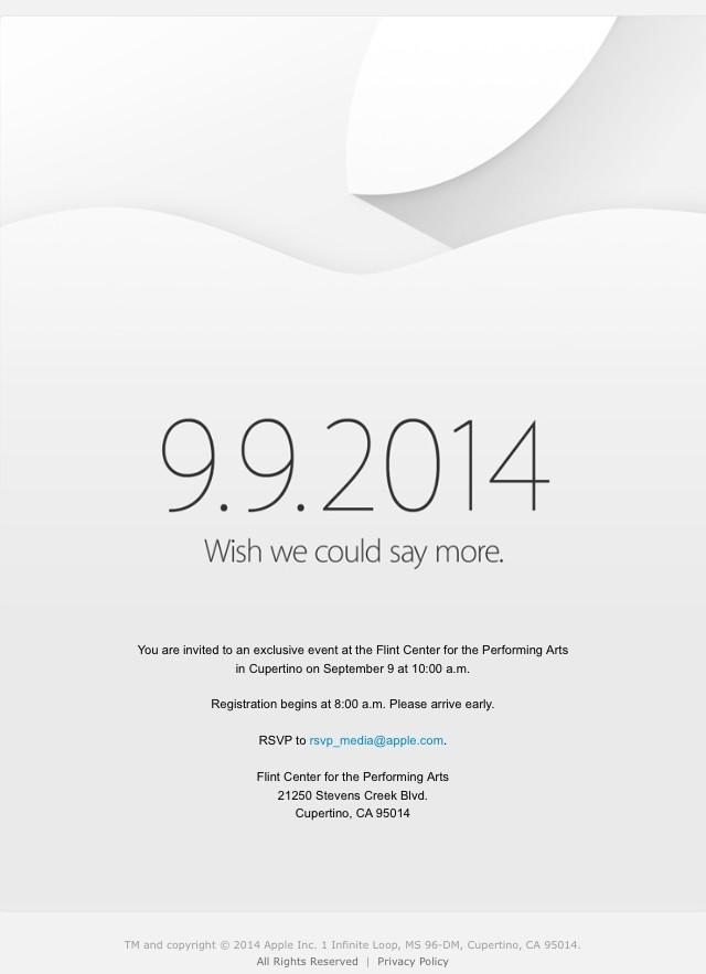 Invitatie Apple 9 Septembrie 2014