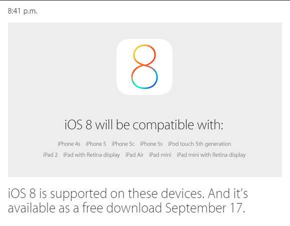 Disponibilitatea iOS 8