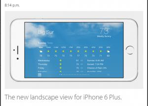 Vremea in mod landscape afisat pe iphone 6 plus