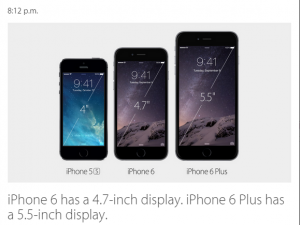 dimensiune display iphone 6 si  6 plus