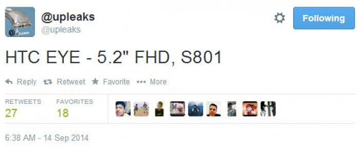 Zvonuri despre HTC EYE