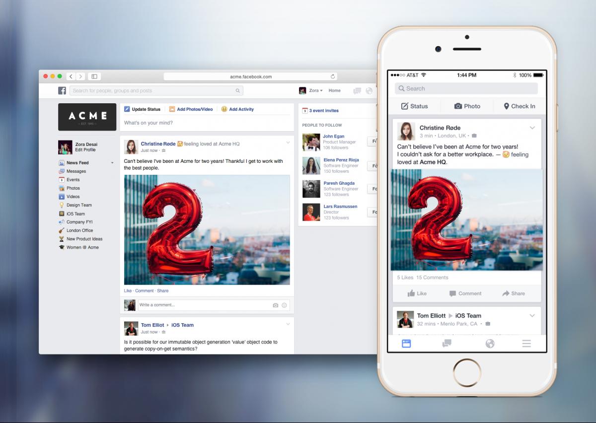 Facebook a creat Facebook at Work pentru angajati