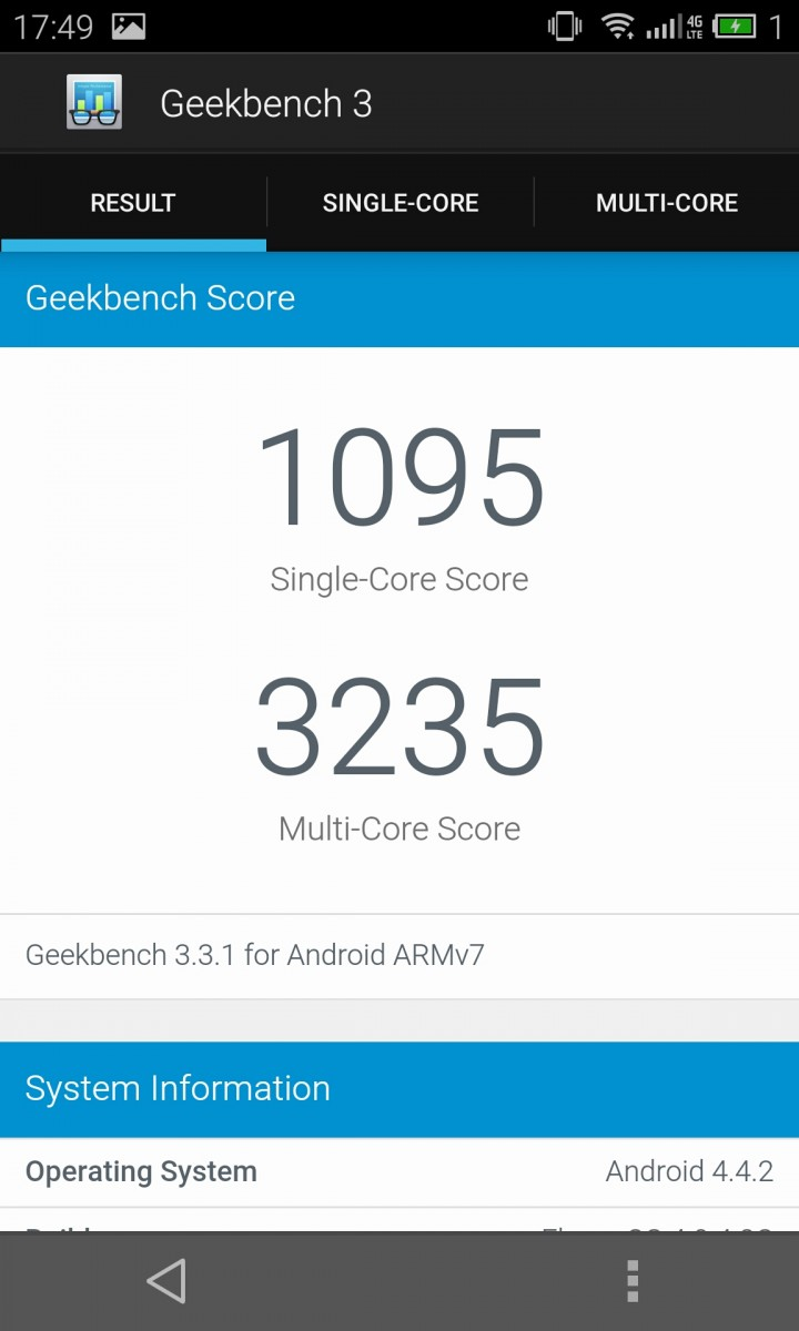Geek Bench 3 benchmark Meizu Mx4 pic
