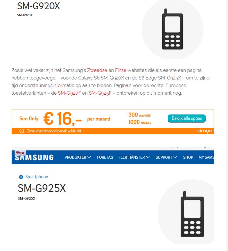 Samsung Galaxy S 6 si S edge au aparut si pe site-ul din finlanda