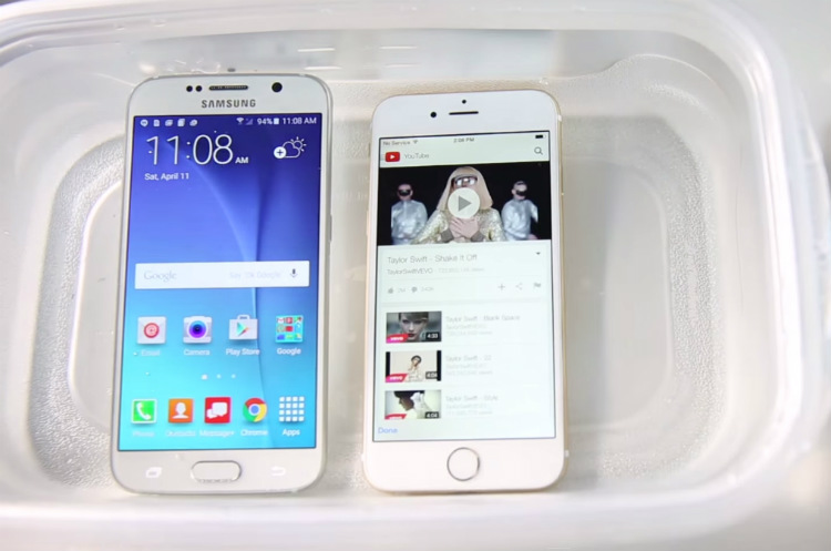 Samsung S6 vs iPhone 6 test rezistenta la apa