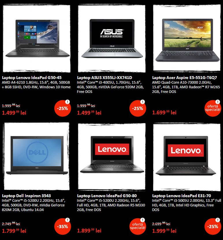 4 laptopuri 2 - Black Friday 2015 Emag