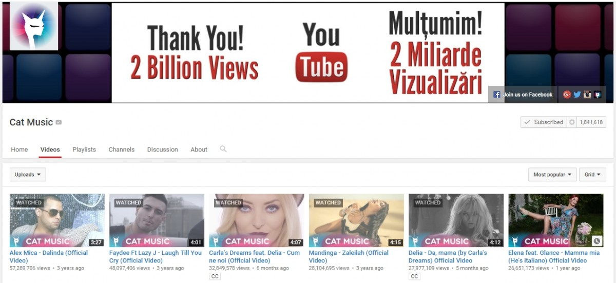Canalul de YOuTube Cat Music are 2 miliarde de vizualizari