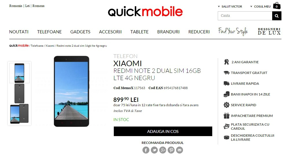 Preț Xiaomi Redmi Note 2 la QuickMobile