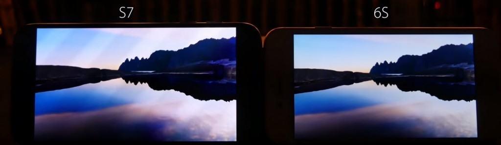 Comparație display iPhone 6s Samsung s7