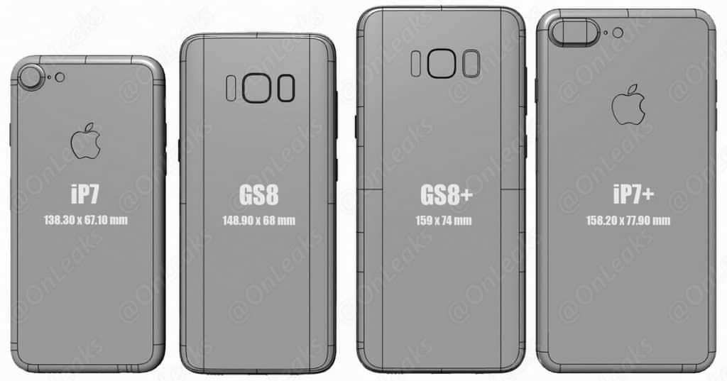 spate s8 s8+ comparat cu iphone 7, 7 plus